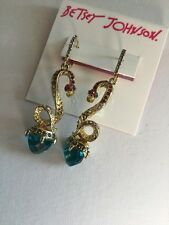 Betsey Johnson Gold Tone Blue Faceted Stone And Snake Drop Earrings BT-30