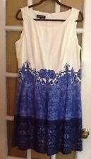 NWT Jones New York DRESS sz 14 Blue White scroll fit flare Wedding Party $149ret
