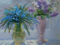 Original Still Life with Snowdrops and Lilacs Oil Painting Impressionism ART