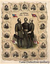 "Civil War Confederate Generals ""Our Heroes"" - 1896 Lithograph Print"