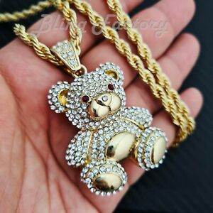 """Iced Lab Diamond Chris Brown Big Bear Doll Pendant & 5mm 30"""" Rope Chain Necklace"""