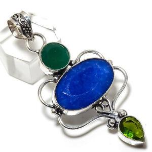 "Burmise Sapphire, Peridot Gemstone Handmade 925 Silver Pendant 2.48"" MP-1665"