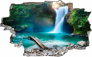 Natur Wasserfall  Wildnis Waterfall 3D Look Wandtattoo Aufkleber Sticker C0407