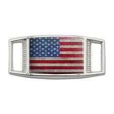 Rustic American Flag Wood Grain Design Rectangular Shoe Shoelace Tag Gym Charm