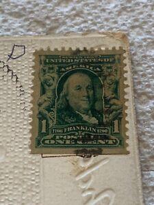 Ben Franklin One Cent Stamp Series 1902 Vintage Tucks Postcard Illinois