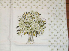 "VTG Floral Cotton Euro Pillowsham Green Bouquet on White 28"" Sq from Europe"