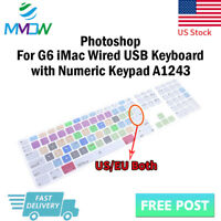 Photoshop PS Shortcuts Silicone Keyboard Cover for iMac G6 Numeric Keypad A1243