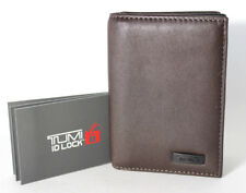 TUMI Mens Horizon SLG Leather Gusseted Card Case ID Wallet ID Lock Chocolate NWT