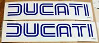 1975-85 DUCATI (open letters) blue on clear gas tank vinyl transfers 900SS, pair