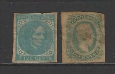Confederate States stamp 1862 & 1863 President Jefferson Davis set mint and tone