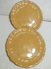 Ballard Designs TOSCANA Gold Round Lot 2 Dinner Plate Dish Wavy Scallop Retired
