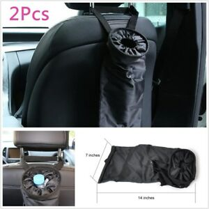 2x Trash Bags Car Trash Can Washable Leakproof Seatback Hanging Car Garbage Bags