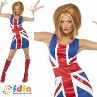 GINGER SPICE GIRL POWER UNION JACK - UK 8-18 - womens ladies fancy dress costume