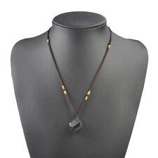 Beauty Black Tourmaline Gem Stone Pendant Necklace Crystal  Specimen