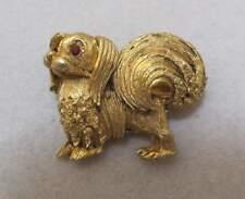 Delightful Vtg Gold Tone Pekingese Dog Brooch Red Rhinestone Eyes Trifari?