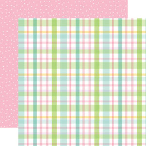 2 Sheets of Echo Park Paper WELCOME EASTER 12x12 Cardstock - Pastel Plaid