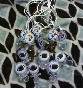 12 STEELERS FOOTBALL Baby Shower Pacifier Necklaces Favors PINK
