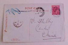 CHINA  1905 CANTON A BACKSTAMP FROM PENARTH, HONG KONG TRANSIT on CARD