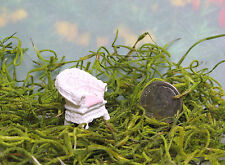 Micro Miniature Fairy Garden White Resin Wicker Chair with Pink Seat
