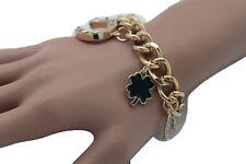 Women Gold Metal Chain Fashion Jewelry Bracelet Luck Charms Leaf Bone 7 Elephant