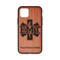 Wood Case Compatible w/ iPhone 11, 11 Pro, 11 Pro Max - EMT Medical Technician