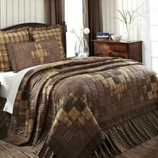Hand Stitched Country King Quilt Brown Green Plaid Block Patchwork Prescott