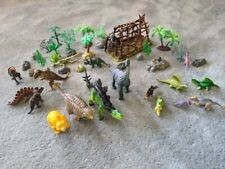 Dinosaurs Set Collection Dinosaur Toys w Jungle Forest Trees Stones Rocks Cage