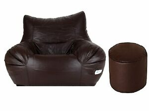 New Bean bag Leather Chair without Bean with footstool Luxuries Home Decor Gifts