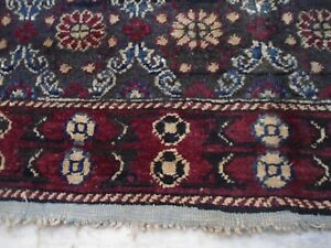 Antique Agra rug carpet black woolen handmade decorative 4x6 India burgundy