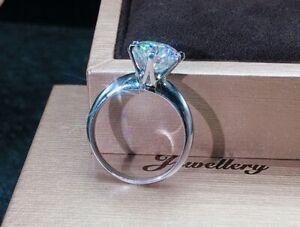 Original 925 Silver Ring Real 18K White Gold Luxury Zirconia Diamond Rings Band