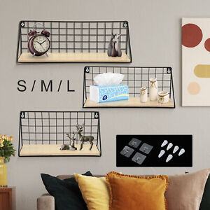 Pack 3 Floating Shelves Wall Mounted Wire Metal Wood Storage Shelf Large Small