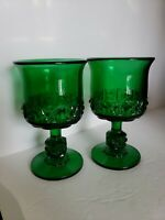 Vintage L.G. Wright Stars And Bars Hard To Find emerald Green Goblets
