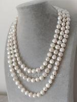 schöne kultivierte 10-11mm weiße barocke Süßwasserperle lange Halskette 60 Zoll