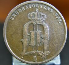 1876 SWEDEN 2 ORE~NICE BRONZE OLD COIN~(SMALL LETTERING)