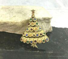 Vintage Gold Tone Christmas Tree Brooch Pin Star Multicolor Crystal Rhinestones