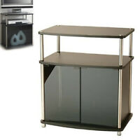 """TV STAND MEDIA Table Small Entertainment Center Cabinet Black Glass TVs to 25"""""""