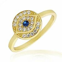 925 Sterling Silver Yellow Gold-Tone White Blue CZ Evil Eye Protection Ring Band