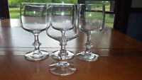 Vintage Clear Glass Water Glasses Stems with 6 sided knobbed stem 4 12 oz