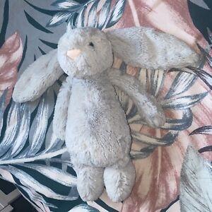 Jellycat Medium Bashful Light Grey Silver Bunny Rabbit Soft Cuddly Plush Toy