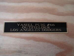 Yasiel Puig Dodgers Autograph Nameplate For A Baseball Helmet / Photo 1.5 X 8