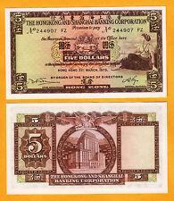 Hong Kong 5 Dollars Date 31-3-1975 Pick-181f Gem UNC