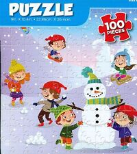 """""""WINTER PLAYTIME"""" Snowman Christmas Kids 100 Pieces BOXLESS Jigsaw Puzzle *NEW*"""