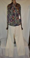 ETCETERA 2 WOMENS SILK COLORFUL blouse TOP @ Clarity O WhitePANT SUIT NWT $355