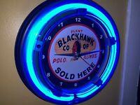 Blackhawk Co-op Corn Feed Seed Farm Barn Man Cave Neon Wall Clock Sign