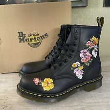 Dr. Martens 1460 VONDA 8 Eye Floral Pink Rose Leather Boots Black Women's Size 6