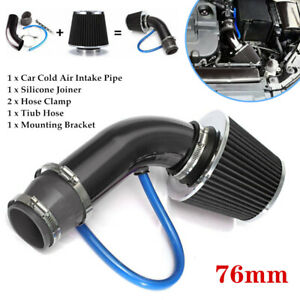76mm Car Universal Cold Air Intake Filter Induction Pipe Power Flow Hose w/Clamp