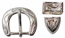 """Hand Engraved Silver Buckle, Loop & Tip Set 5/8"""". Wide T231"""
