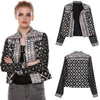 Womens Retro Biker Style Blazer Suit Casual Jacket Coat Slim Fit Casual Outwear