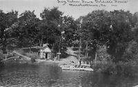 Marshalltown IA Veteran on Dock @ Civil War Soldiers Home~Log Cabin c1910 Blue