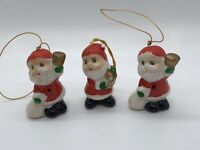 3 Vintage Christmas Japan Ceramic Snowman Santa Ornament Lot